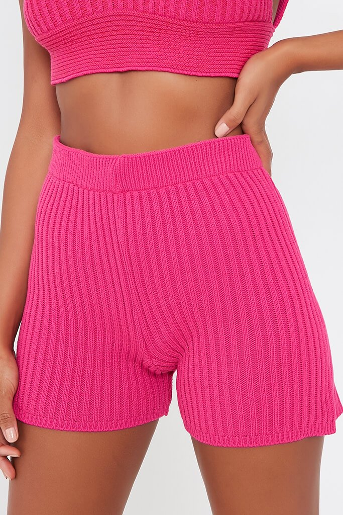 Hot Pink Knitted Short view 4