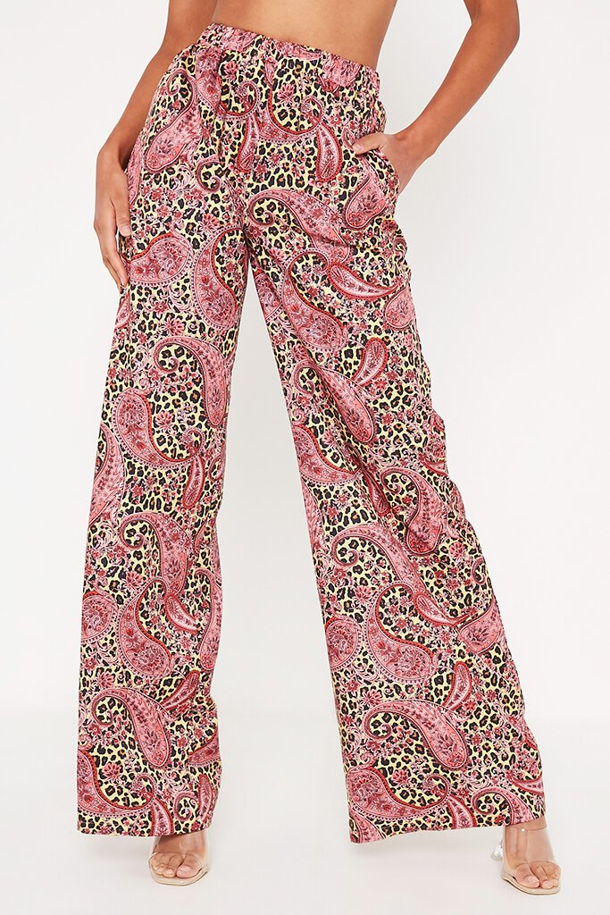 Yellow Paisley Print Woven Wide Leg Trouser view 2