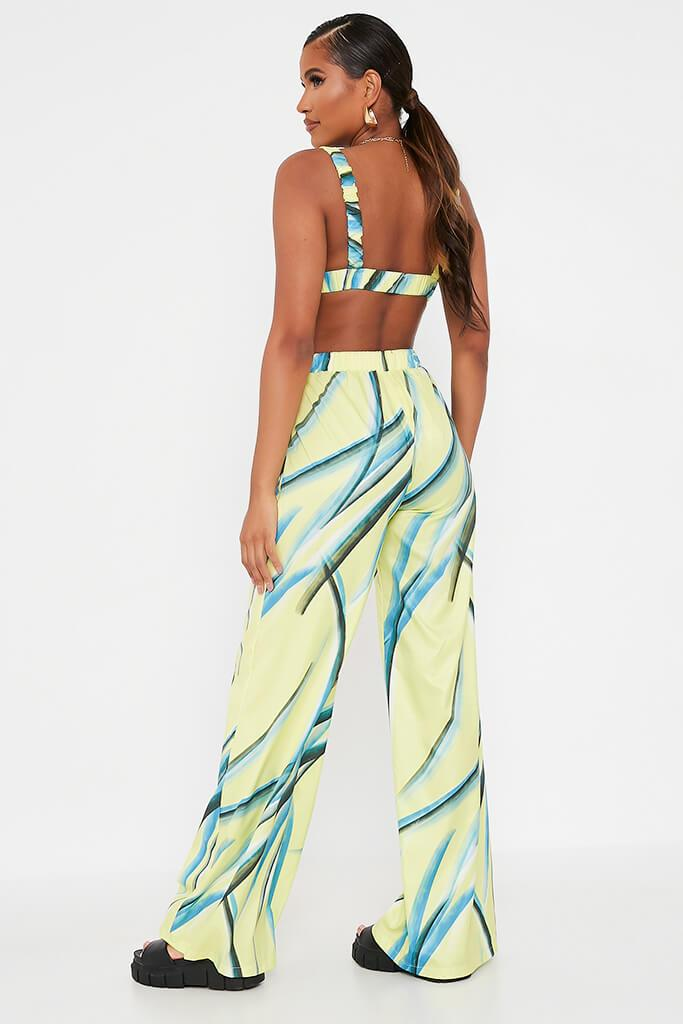 Green Stroke Print Wide Leg Trouser view 5