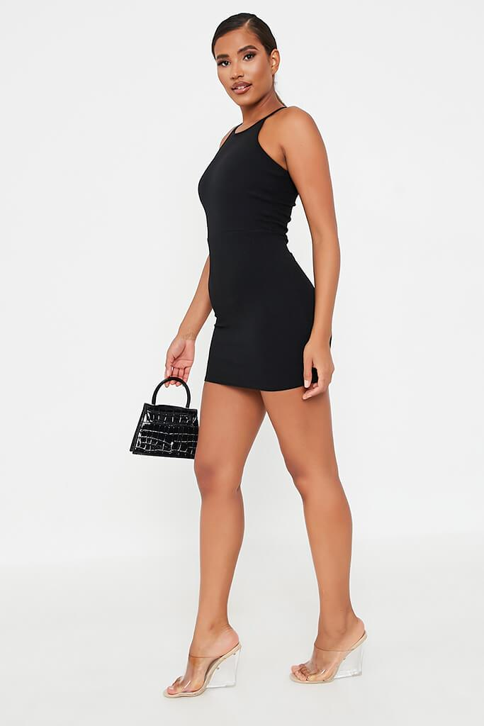 Black Crepe Halter Neck Bodycon Mini Dress view 3