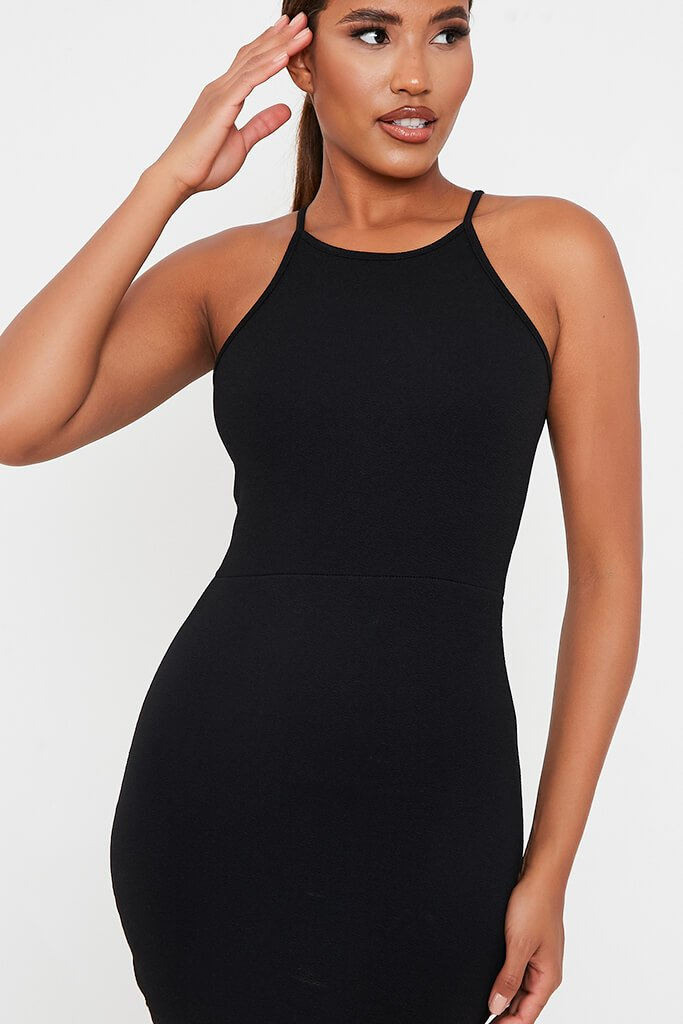 Black Crepe Halter Neck Bodycon Mini Dress view 4