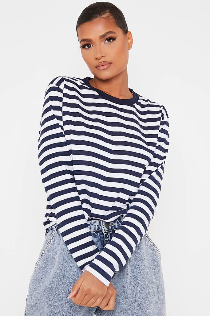 Navy Cotton Stripe Long Sleeve T-Shirt view main view