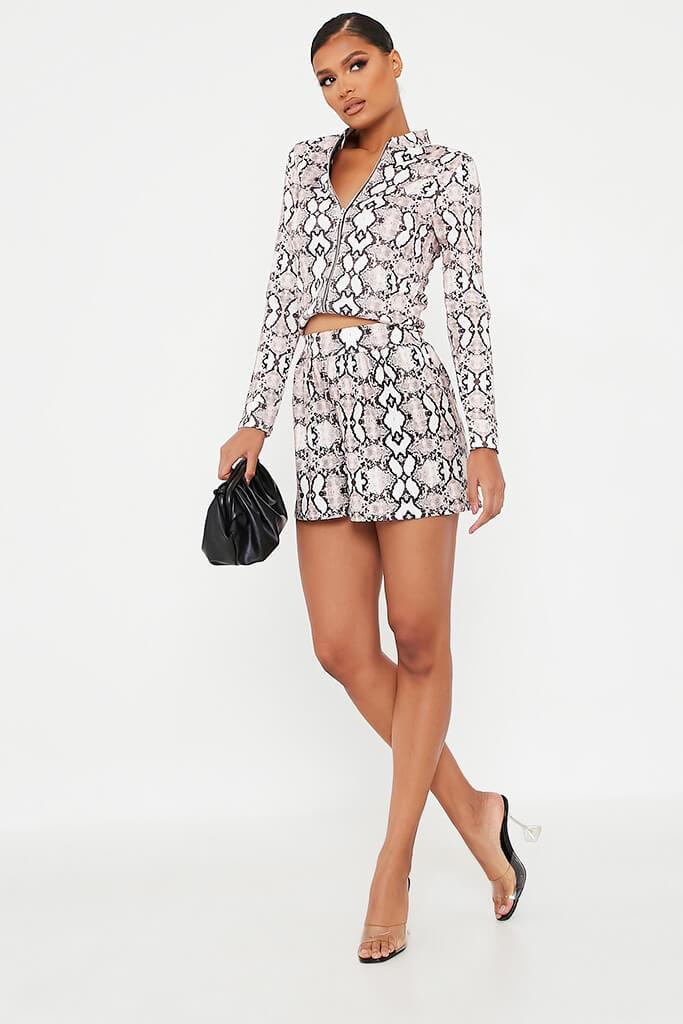 Snake Printed High Waisted Loose Fit Shorts