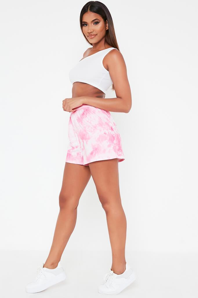 Pink Printed High Waisted Loose Fit Shorts view 3