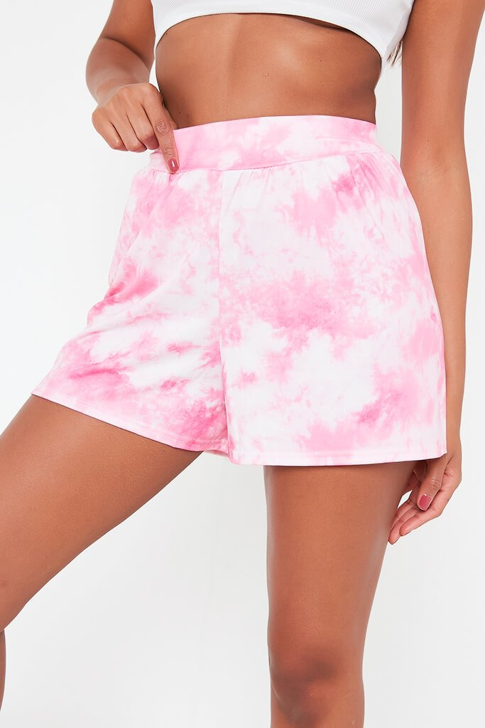 Pink Printed High Waisted Loose Fit Shorts view 4