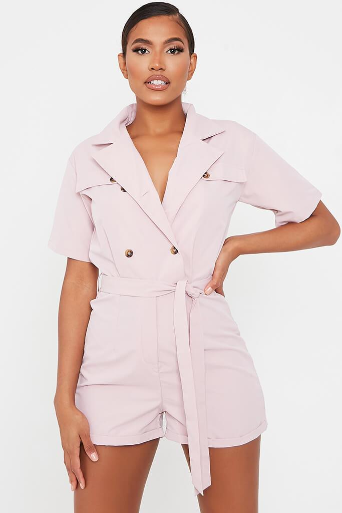 Pink Woven Short Sleeve Belted Utility Playsuit view main view