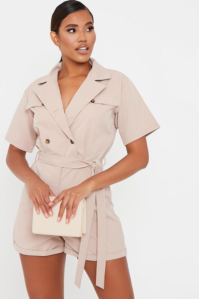 Camel Woven Short Sleeve Belted Utility Playsuit view main view