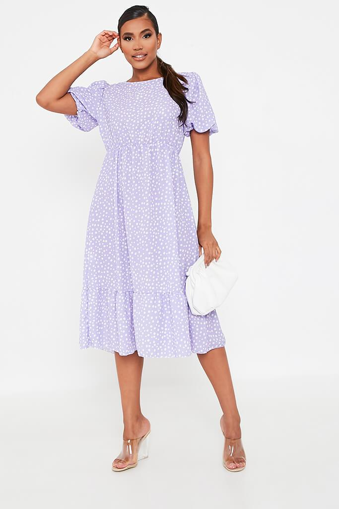 Lilac Puff Sleeve Polka Dot Midi Dress view 2