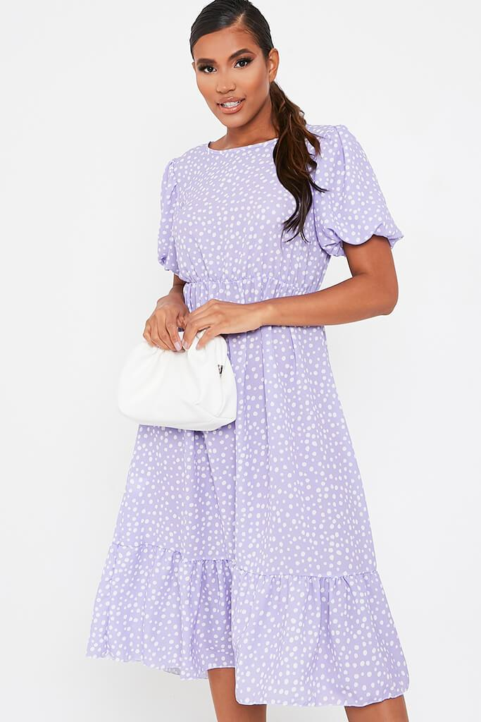 Lilac Puff Sleeve Polka Dot Midi Dress
