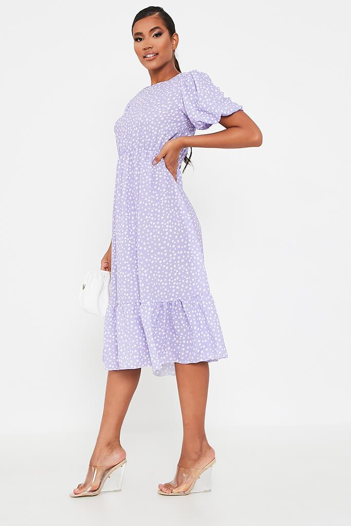 Lilac Puff Sleeve Polka Dot Midi Dress view 3