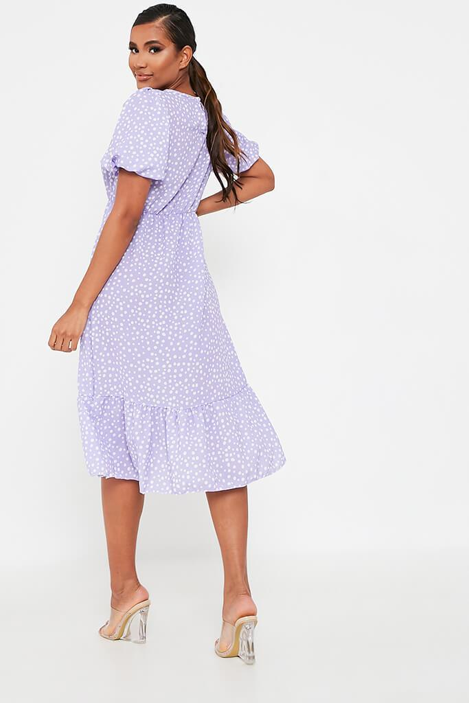 Lilac Puff Sleeve Polka Dot Midi Dress view 5