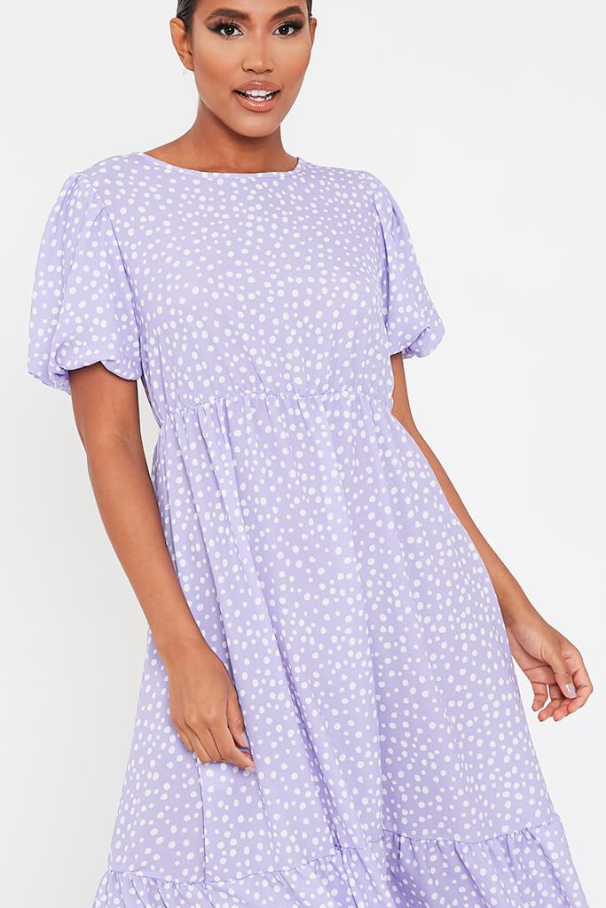 Lilac Puff Sleeve Polka Dot Midi Dress view 4