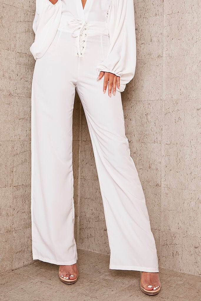 Ivory Lace Front Wide Leg Trousers view 2