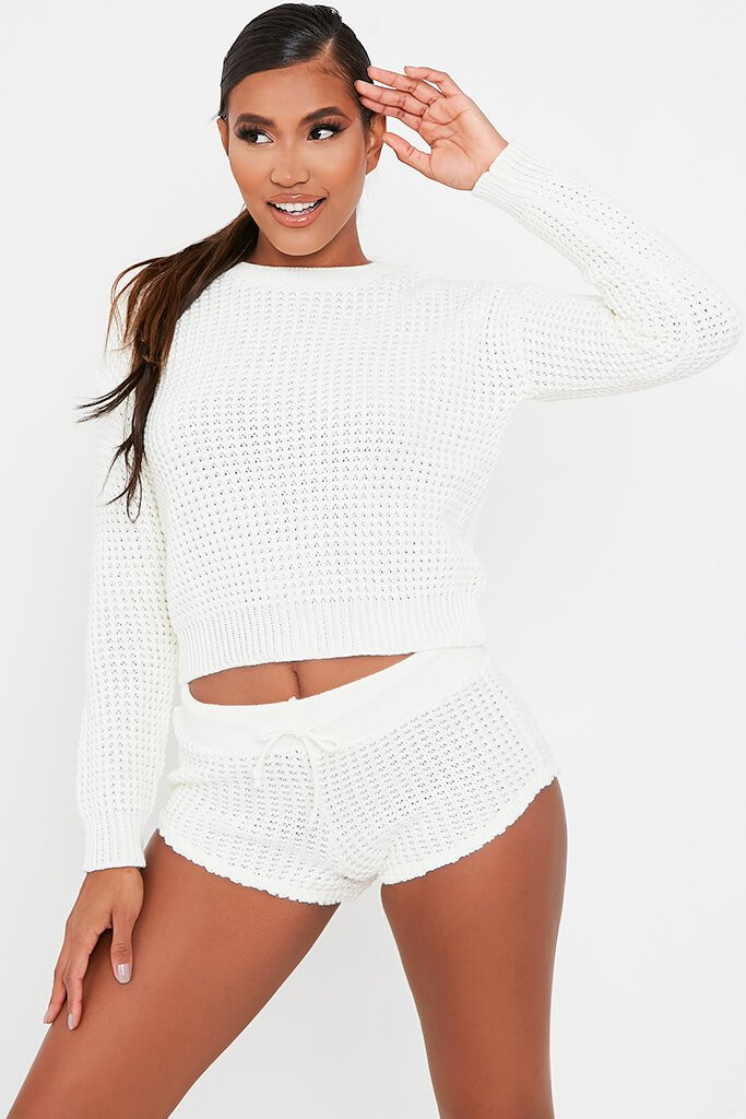 Cream Knitted Top And Shorts Set