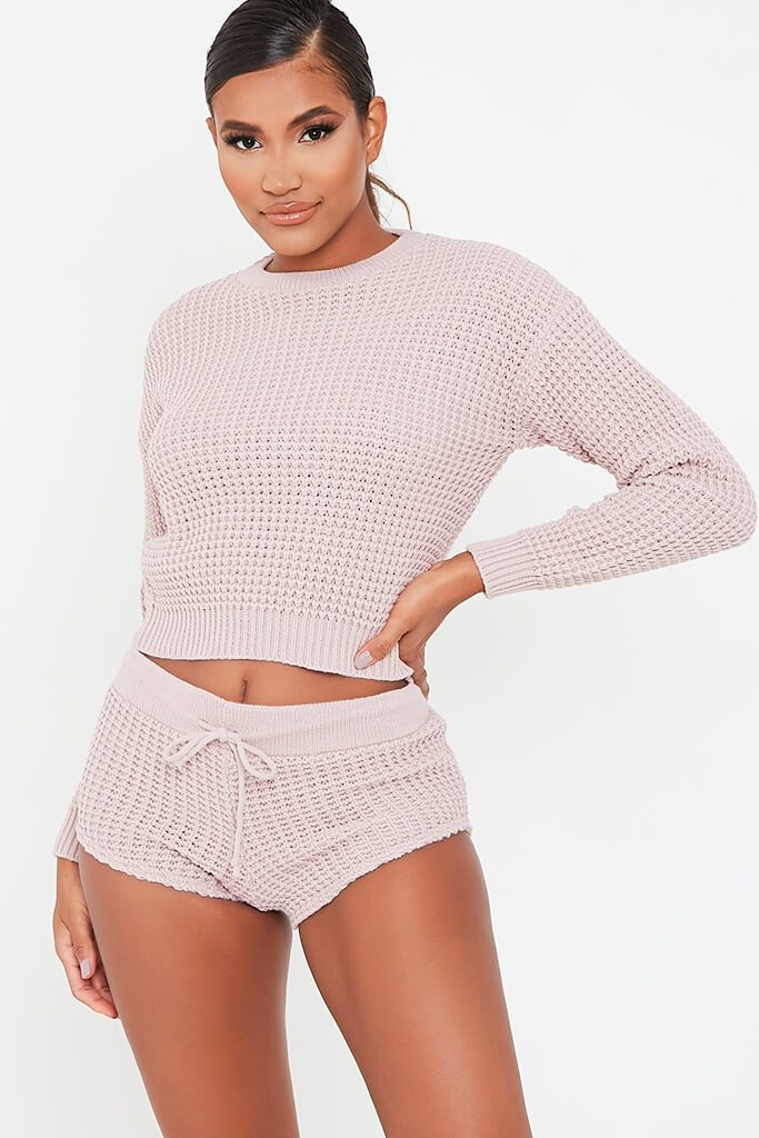 Nude Knitted Top And Shorts Set