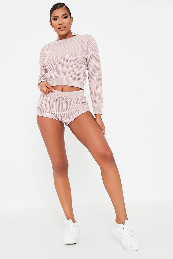 Nude Knitted Top And Shorts Set view 2