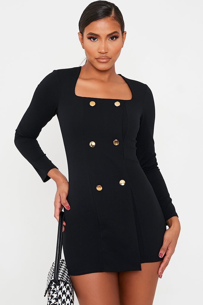 Black Long Sleeve Square Neck Double Breasted Bodycon Dress