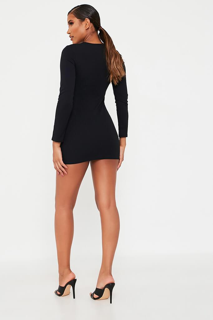 Black Long Sleeve Square Neck Double Breasted Bodycon Dress view 5