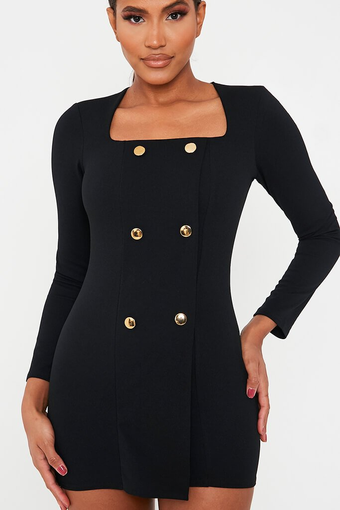Black Long Sleeve Square Neck Double Breasted Bodycon Dress view 4