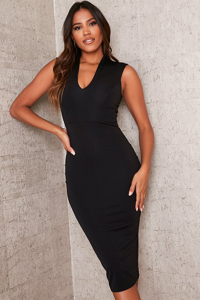 Black Stretch Crepe Plunge Sleeveless Midi Dress view main view