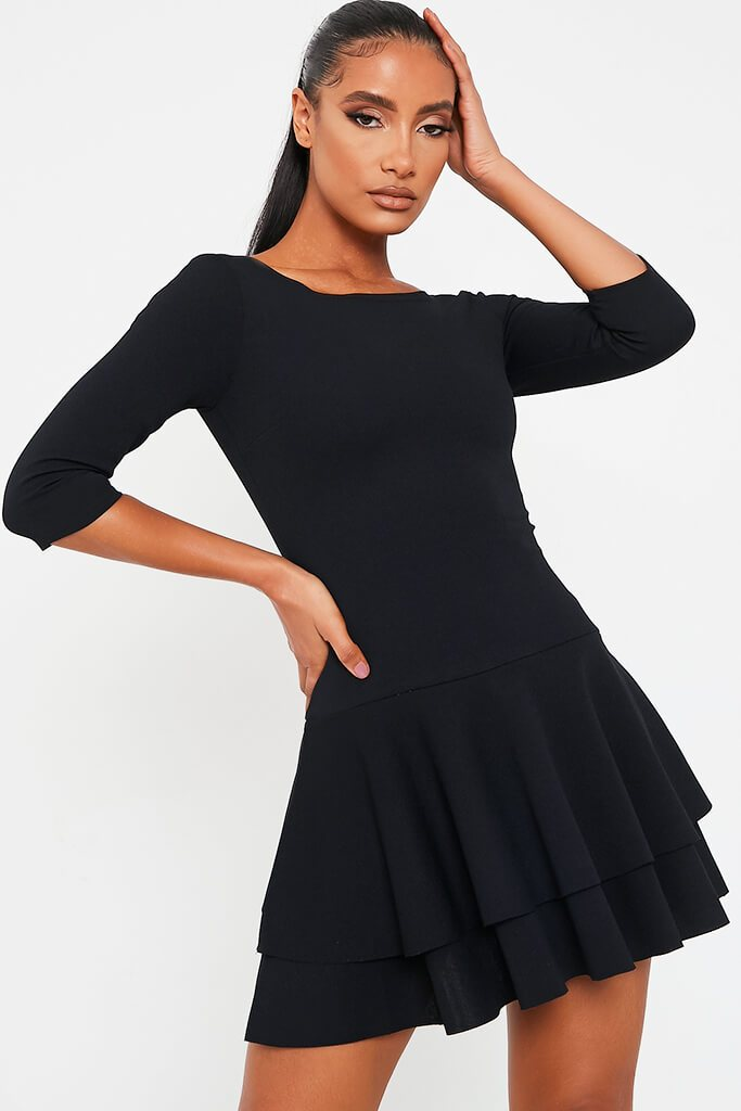 Black Stretch Crepe Tiered Frill Skater Dress