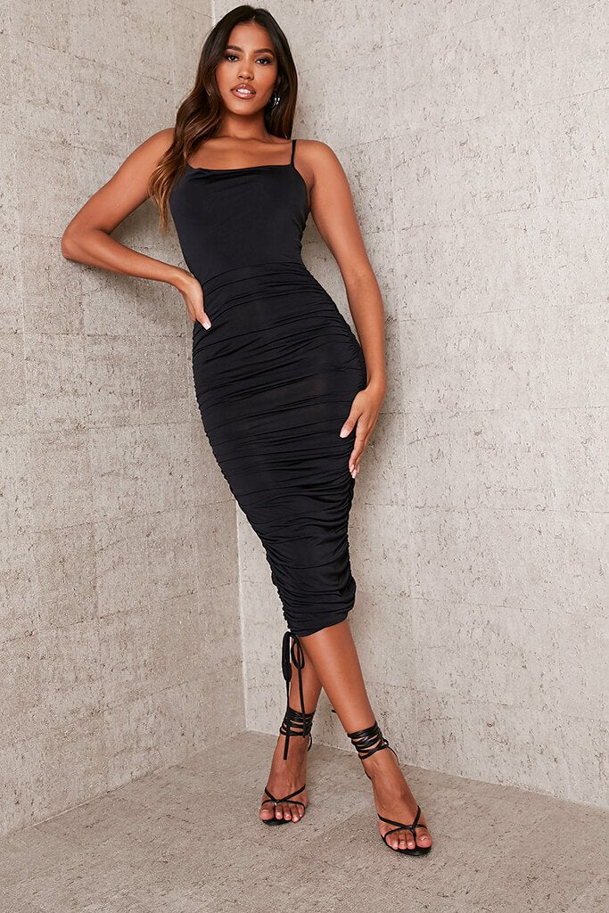 Black Slinky Ruched Asymmetric Cowl Midaxi Dress view main view