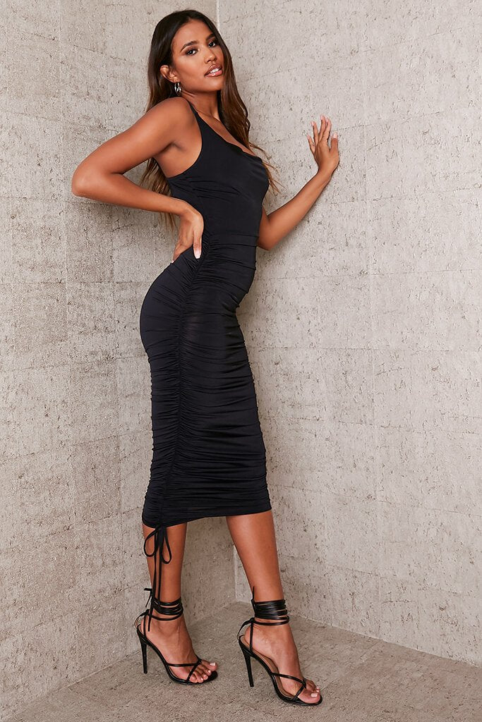 Black Slinky Ruched Asymmetric Cowl Midaxi Dress view 3