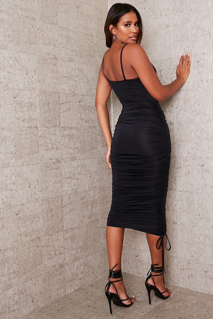 Black Slinky Ruched Asymmetric Cowl Midaxi Dress view 4