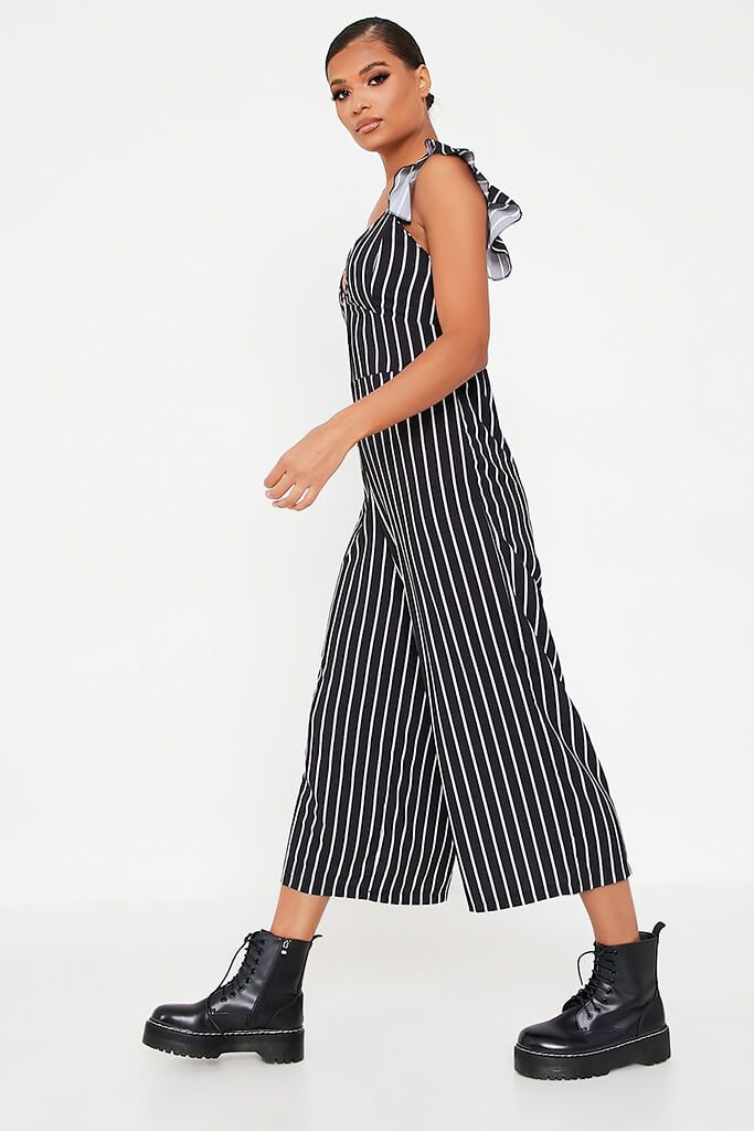 Black Striped Woven Button Frill Strap Culotte Jumpsuit view 3
