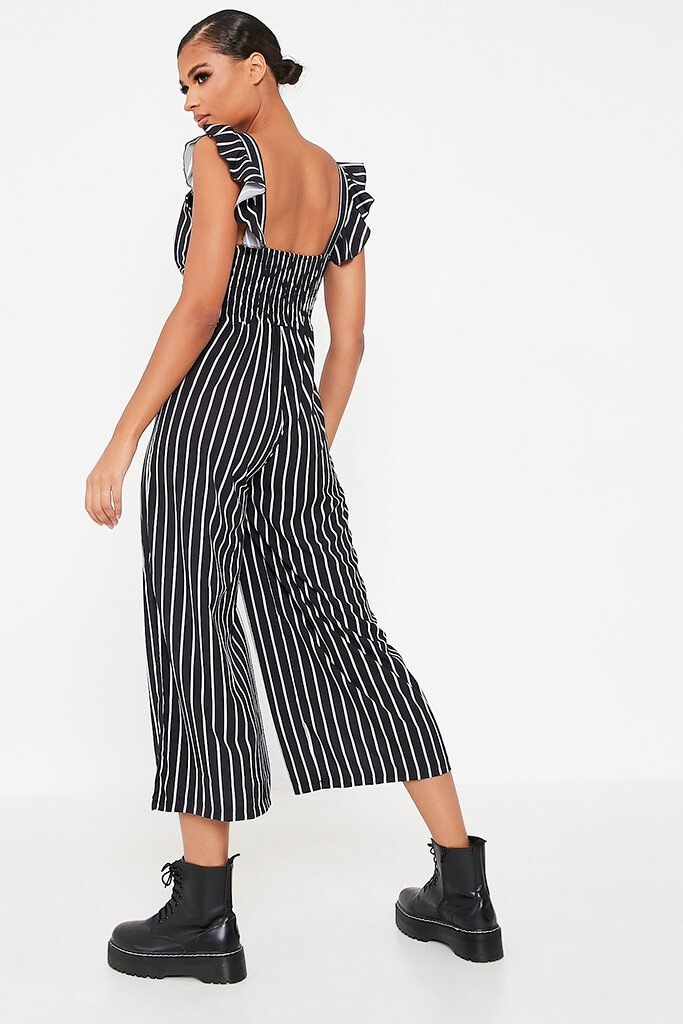Black Striped Woven Button Frill Strap Culotte Jumpsuit view 5