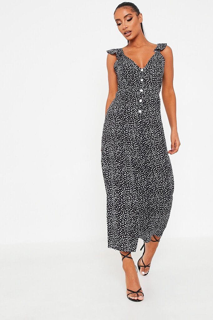 Black Polka Dot Woven Button Frill Strap Culotte Jumpsuit view 3