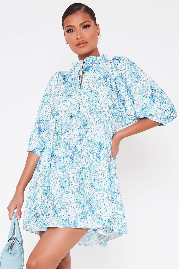 Baby Blue Floral Printed High Neck Tie Detail Smock Dress