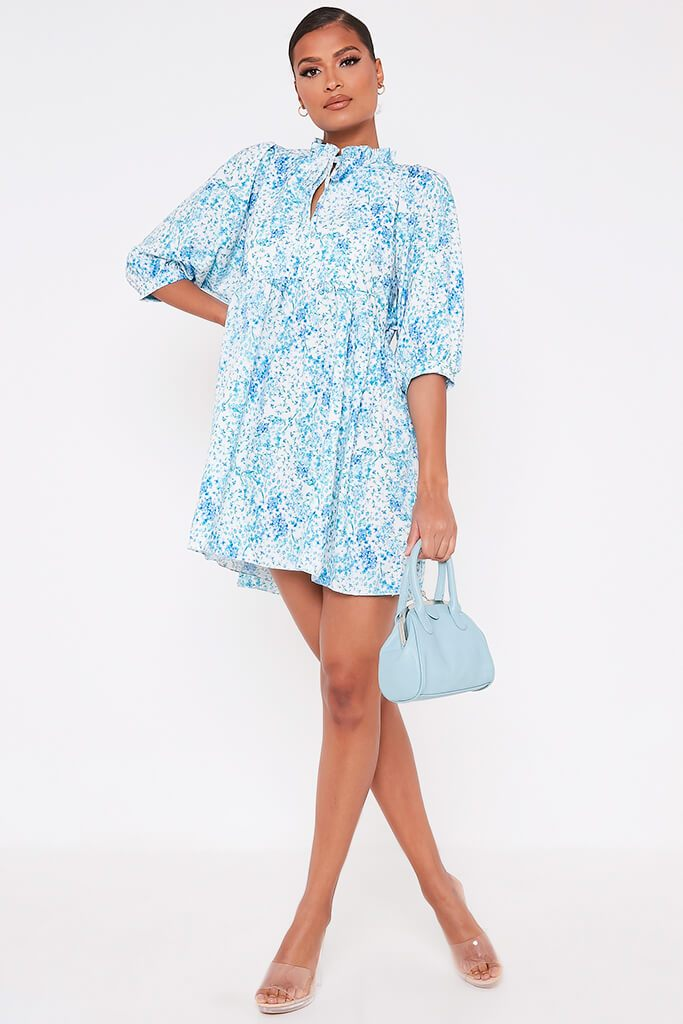 Baby Blue Floral Printed High Neck Tie Detail Smock Dress view 2