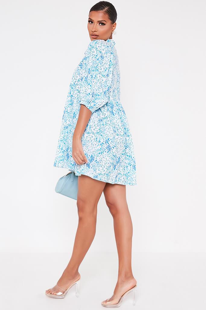 Baby Blue Floral Printed High Neck Tie Detail Smock Dress view 3