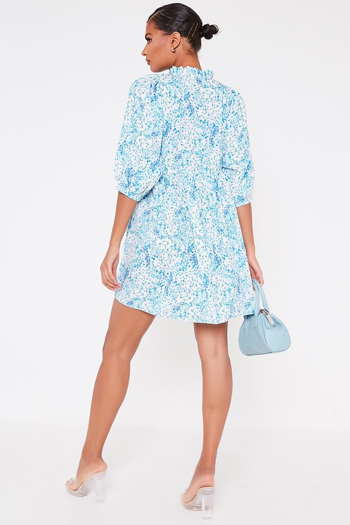 Baby Blue Floral Printed High Neck Tie Detail Smock Dress view 5