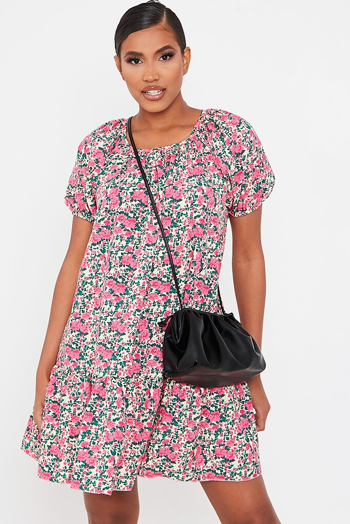 Pink Floral Printed Puff Sleeve Frill Hem Smock Dress