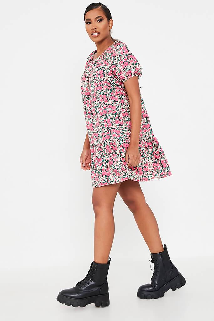 Pink Floral Printed Puff Sleeve Frill Hem Smock Dress view 3