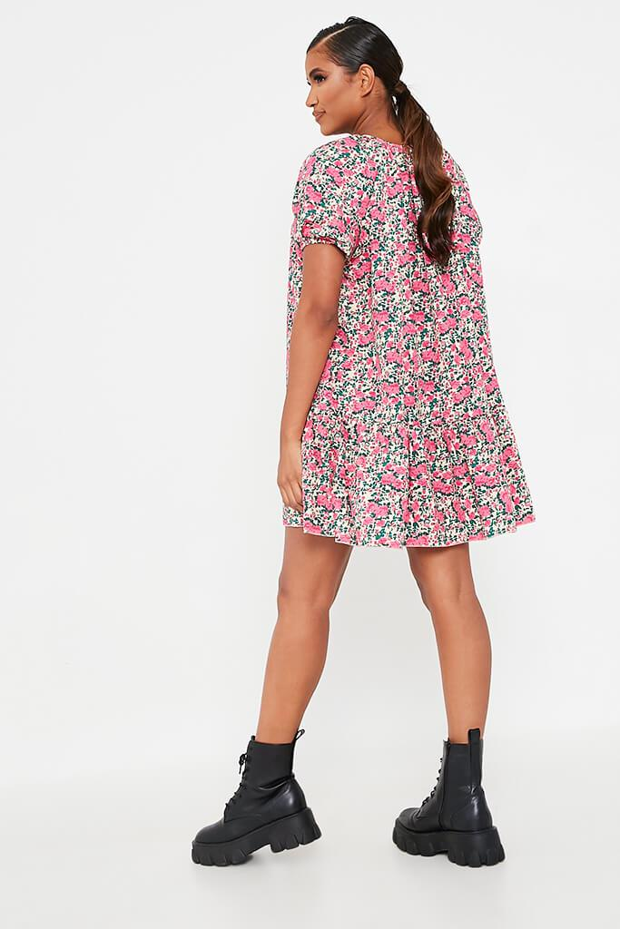 Pink Floral Printed Puff Sleeve Frill Hem Smock Dress view 5