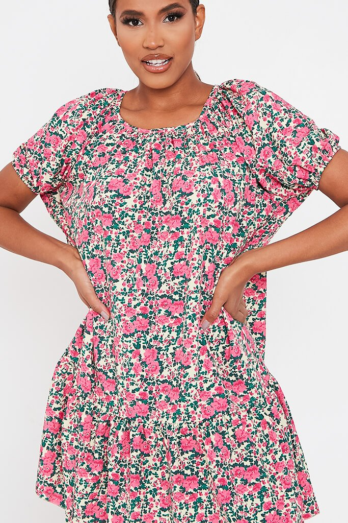 Pink Floral Printed Puff Sleeve Frill Hem Smock Dress view 4