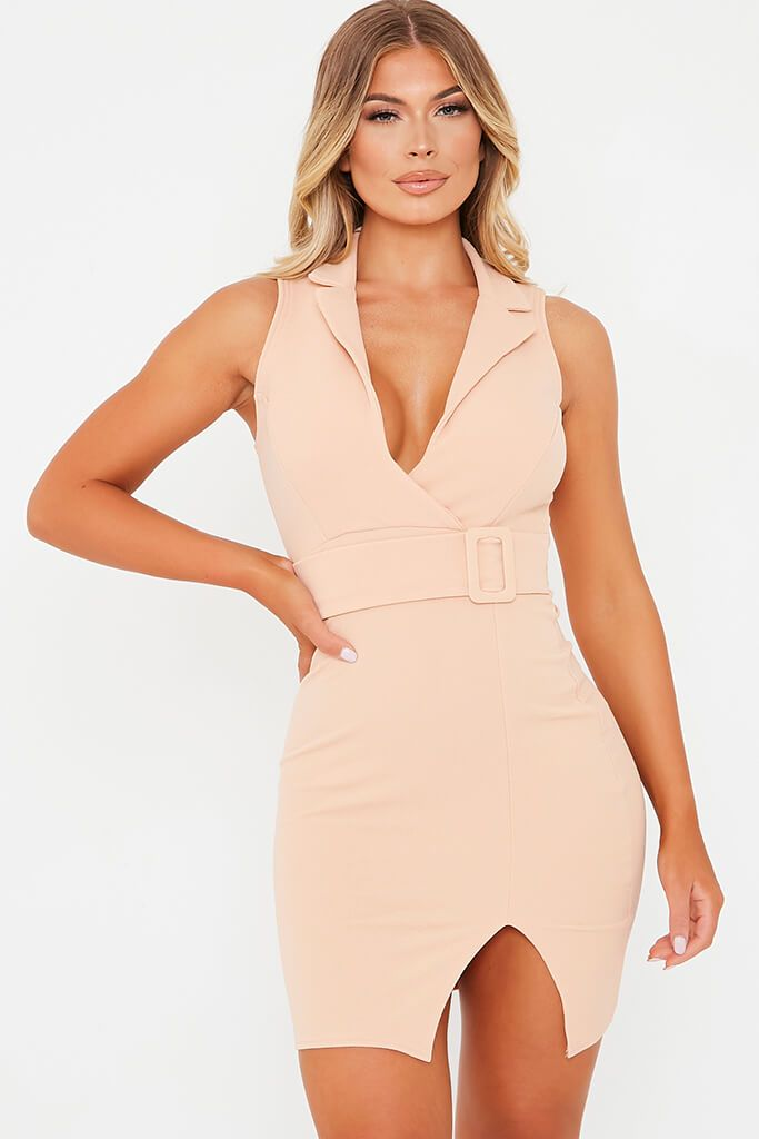 Nude Stretch Crepe Sleeveless Belted Blazer Dress