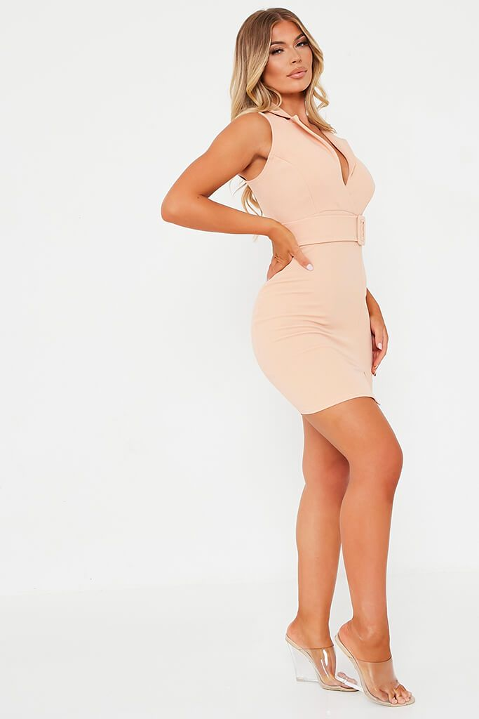 Nude Stretch Crepe Sleeveless Belted Blazer Dress view 3