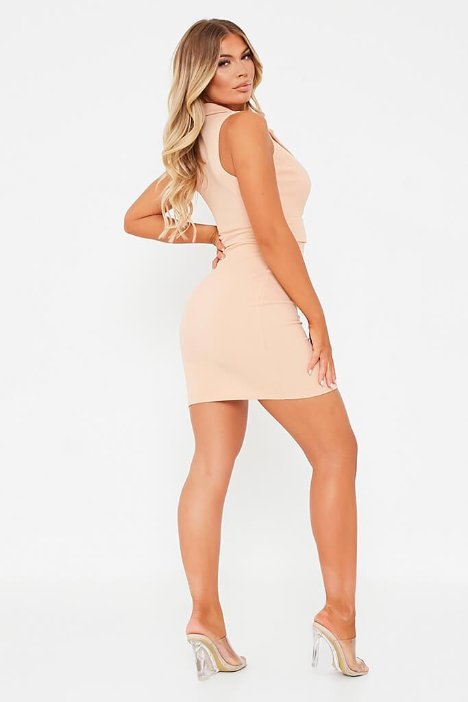 Nude Stretch Crepe Sleeveless Belted Blazer Dress view 4