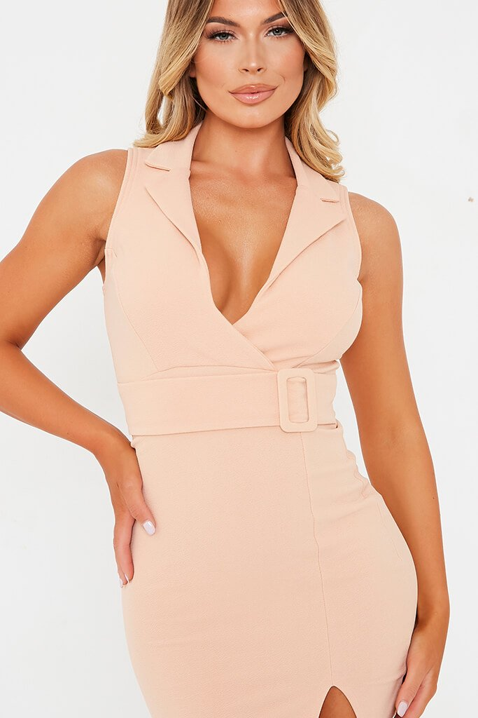 Nude Stretch Crepe Sleeveless Belted Blazer Dress view 5