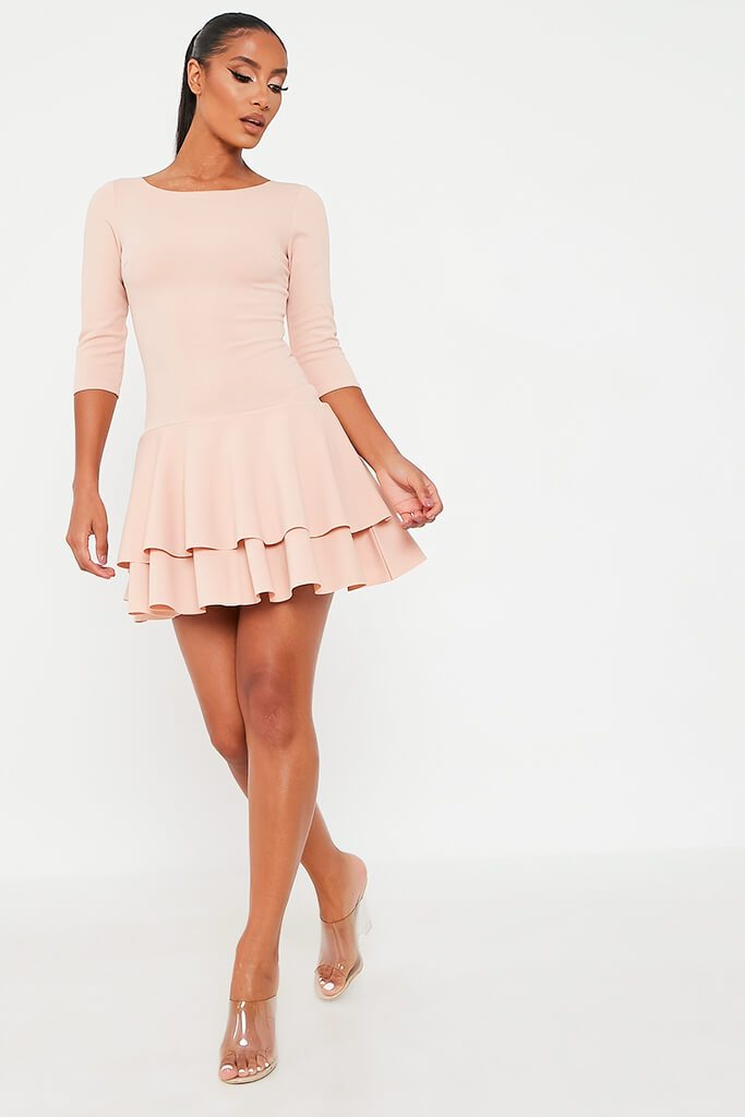 Nude Stretch Crepe Tiered Frill Skater Dress