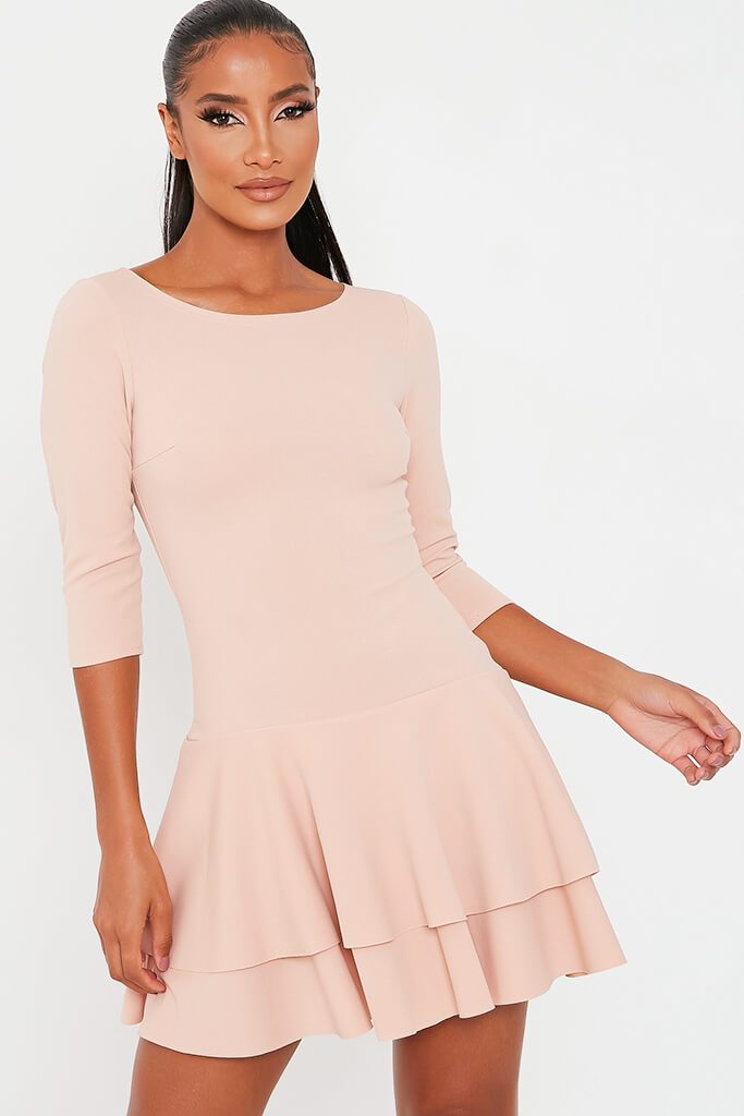 Nude Stretch Crepe Tiered Frill Skater Dress view 2