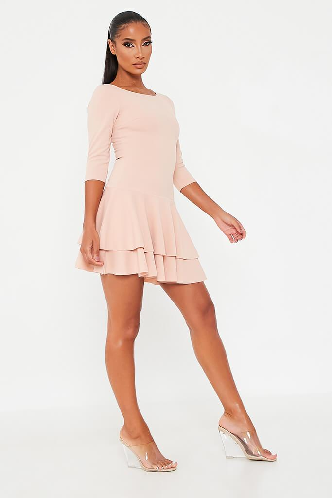 Nude Stretch Crepe Tiered Frill Skater Dress view 3