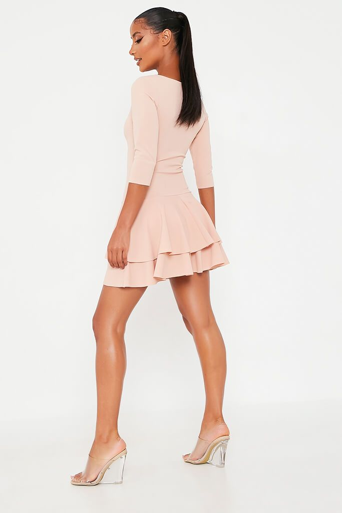 Nude Stretch Crepe Tiered Frill Skater Dress view 5