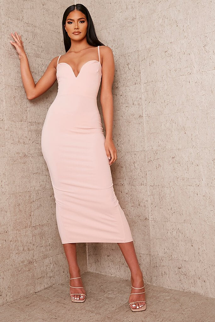Nude Stretch Crepe Deep Plunge Cami Midaxi Dress