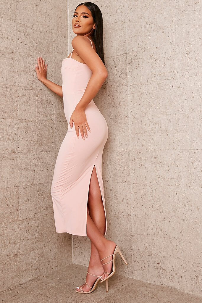 Nude Stretch Crepe Deep Plunge Cami Midaxi Dress view 3