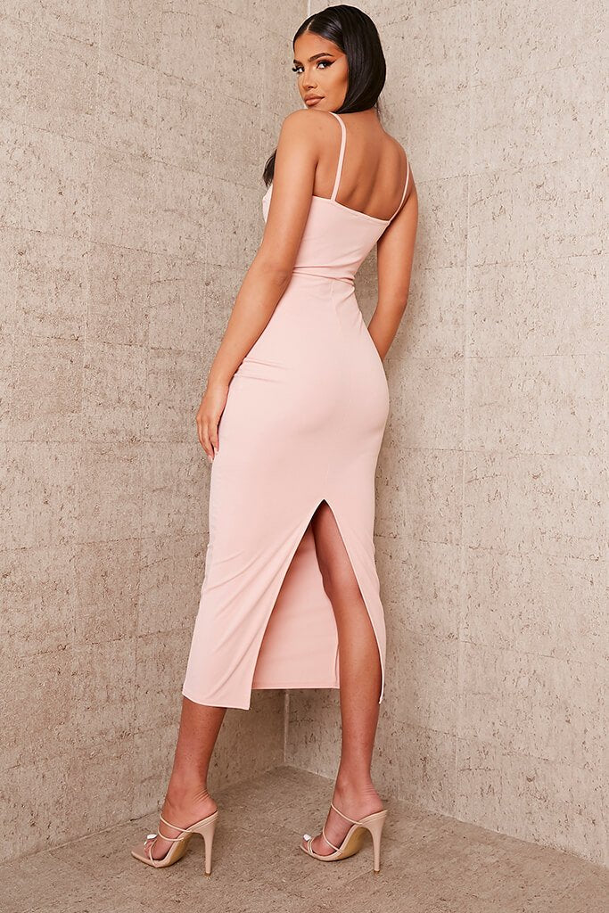 Nude Stretch Crepe Deep Plunge Cami Midaxi Dress view 4